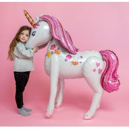 Шар Ходячая фигура Единорог, Розовый, 117 см