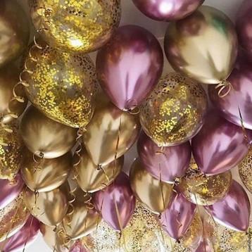 Розовый хром с золотыми конфетти, 30 шт.