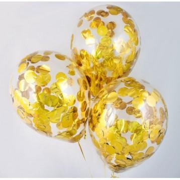 Шарики с круглыми конфетти (золотые)