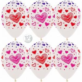 Сердечки разноцветные, прозрачные 25 шт.