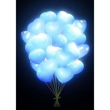 Шар Светящиеся сердца, Белые, 25 шт