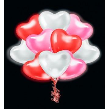Шар Светящиеся сердце, Ассорти, 25 шт