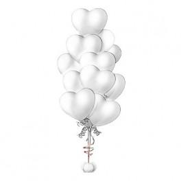 """Фонтан из шаров  """"Белые сердца"""""""