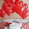 Сердечки Красные и Белые, 100 шт. (пастель 38 см)