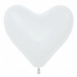 """Шар Cердце, Белый пастель, (16""""/41 см)"""