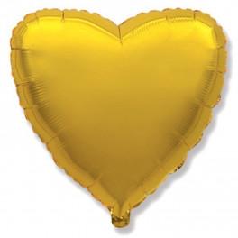 Шар Сердце Ультра, Золото 80 см