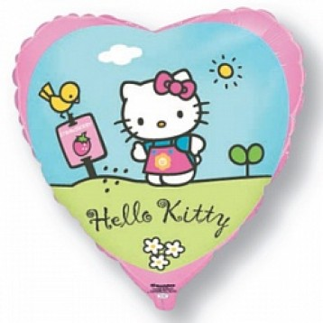 "Шар сердце ""Hello Kitty"", котенок в саду"