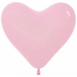 """Шар Cердце, Розовый пастель, (16""""/41 см)"""