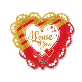 "Шар Сердце ""I Love you"", красное ажурное"