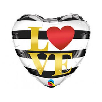 """Шар Сердце """"Love"""", черно-белая полоска"""