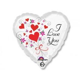 """Шар Сердце """"Love you"""", белый"""