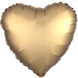 Шар Сердце, Золото, сатин, 46 см.