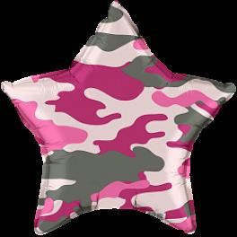 Шар Звезда, Камуфляж, Розовый,46 см