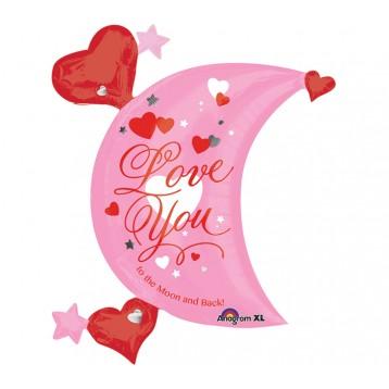 Шар Луна, розовая с сердцами (Люблю тебя от Луны и обратно)