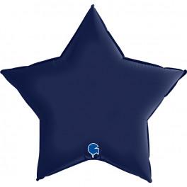 Шар Звезда Ультра, Темно-синий сатин, 91 см
